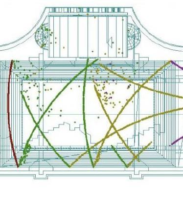 fot.: Symulacja rozchodzenia się fal dźwiękowych (rzut poziomy), 2012, model akustyczny, opracowanie: Andrzej Kłosak, © Katarzyna Krakowiak (fragment)