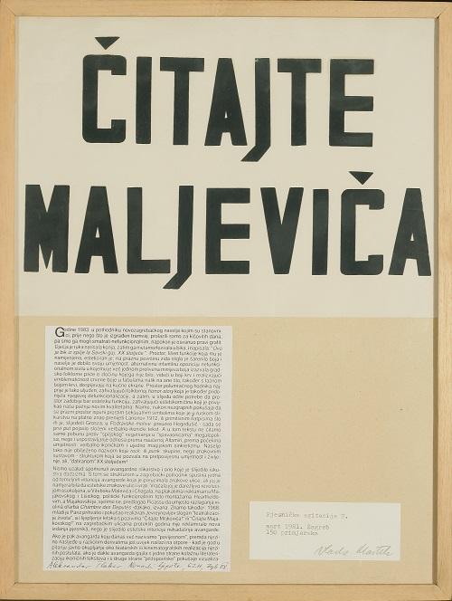 Vlado Martek, Z cyklu Agitacja poetycka 7, Czytajcie Malewicza, 1981. Dzięki uprzejmości Muzeum Sztuki Współczesnej w Zagrzebiu