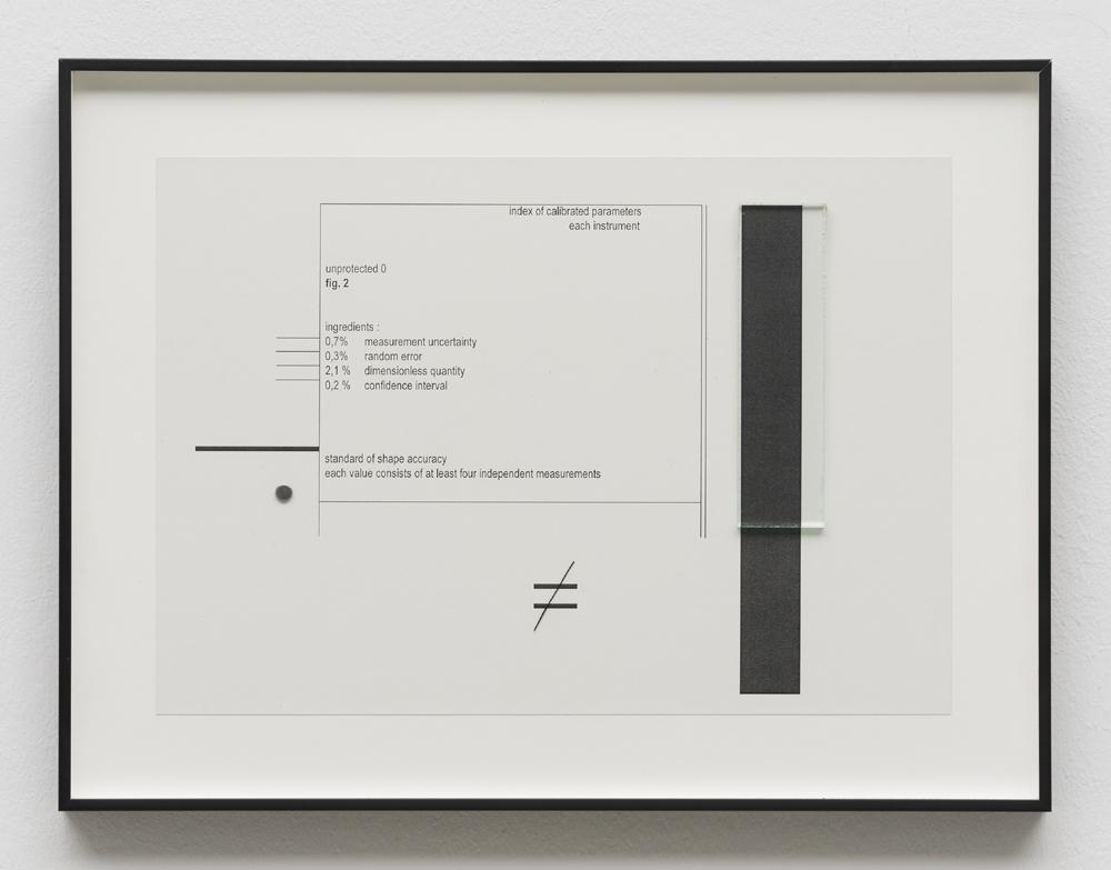 """Marlena Kudlicka, """"unprotected 0 fig.2"""", kolaż 2015, druk, stal, szkło 28cm x 37cm oprawiony, © Marlena Kudlicka, dzięki uprzejmości Artystki i ŻAK   BRANICKA"""