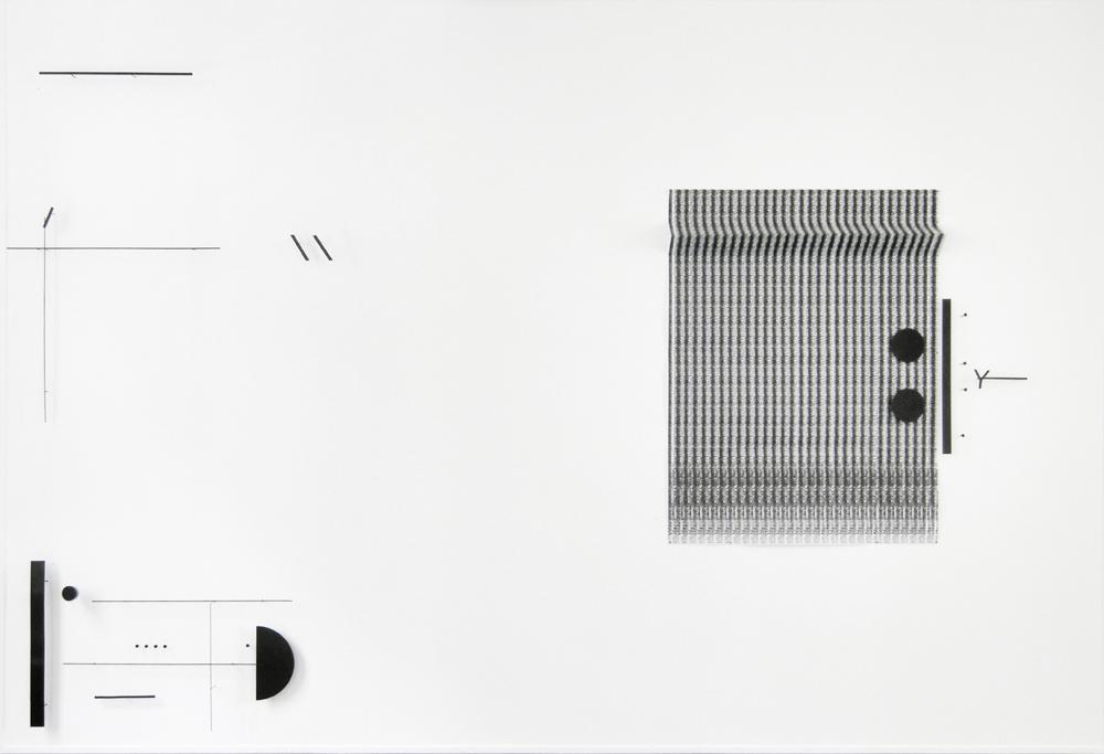 """Marlena Kudlicka, """"a divided dot. folder"""", kompozycja rzeźbiarska na ścianie 2014, stal malowana, druk 250cm x 367cm x 12cm, © Marlena Kudlicka, dzięki uprzejmości Francisco Fino, Artystki i ŻAK   BRANICKA"""