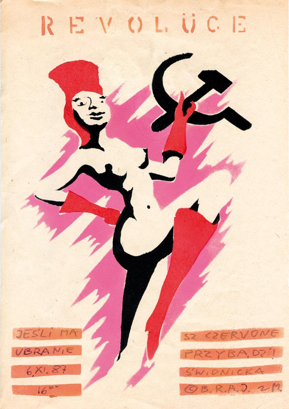 """Jacek """"Ponton"""" Jankowski, Wigilia rewolucji październikowej (plakat dla Pomarańczowej Alternatywy), 1988. Dzięki uprzejmości artysty"""