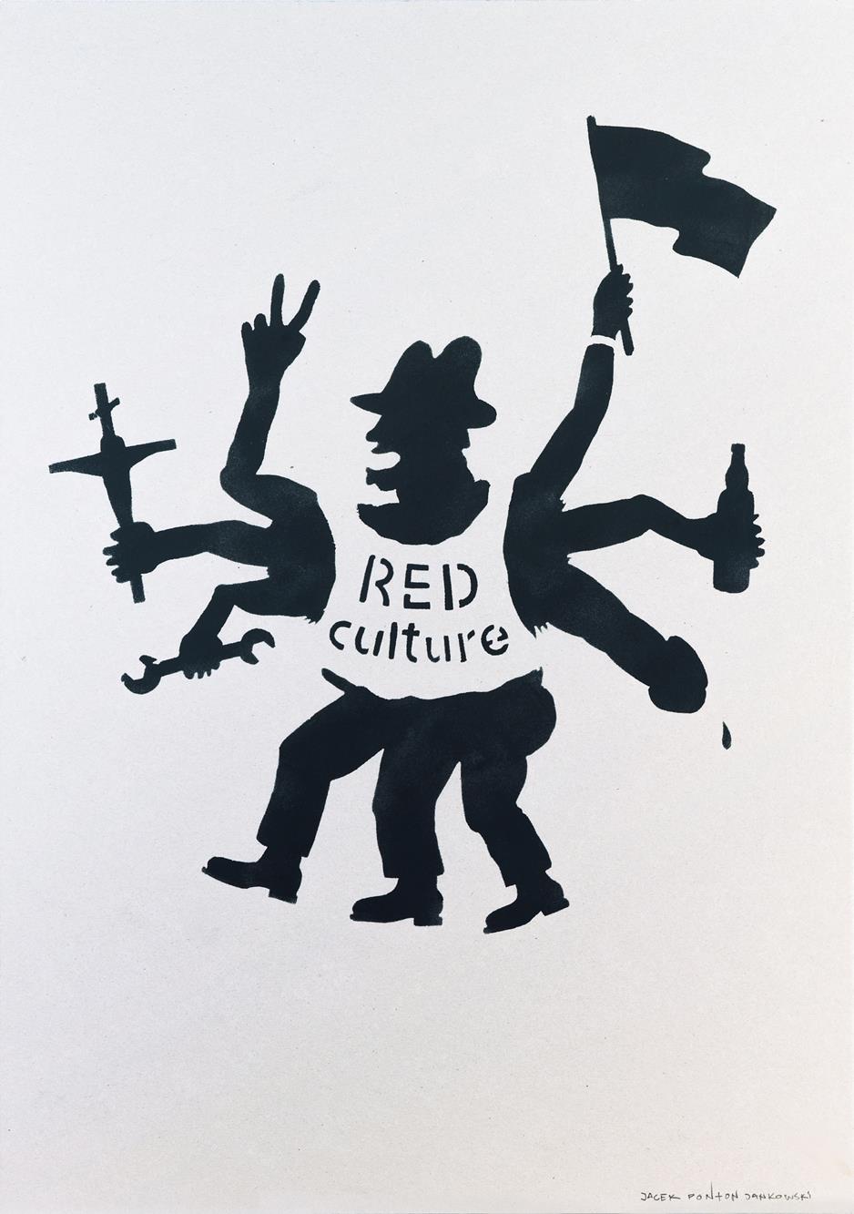 """Jacek """"Ponton"""" Jankowski, Red Culture, 1986, odbitka szablonu. Kolekcja DTZSP, depozyt w MWW. Fot. Małgorzata Kujda"""