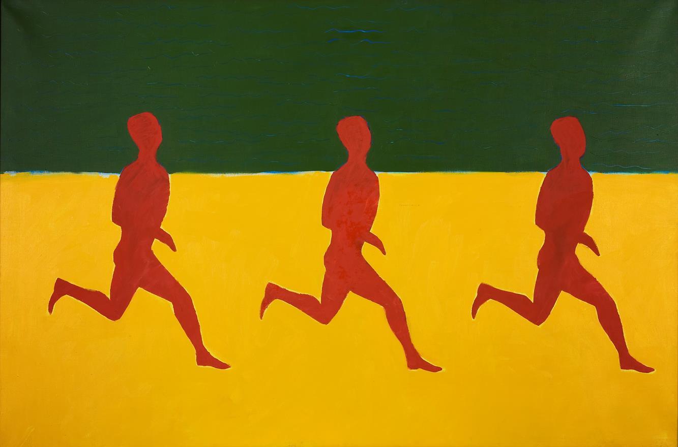 Jarosław Modzelewski, Red People's Run, 1983, oil on canvas. Collection of the MWW. Photo by Małgorzata Kujda