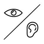 Grafika. W lewym górnym rogu piktogram oka. Pośrodku linia biegnąca po przekątnej od prawego górnego do lewego dolnego rogu. W prawym dolnym rogu piktogram ucha.