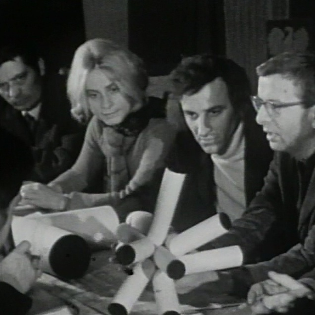 Natalia LL in the male group of participants of the Art Symposium Wrocław '70. Still from Antoni Dzieduszycki's film