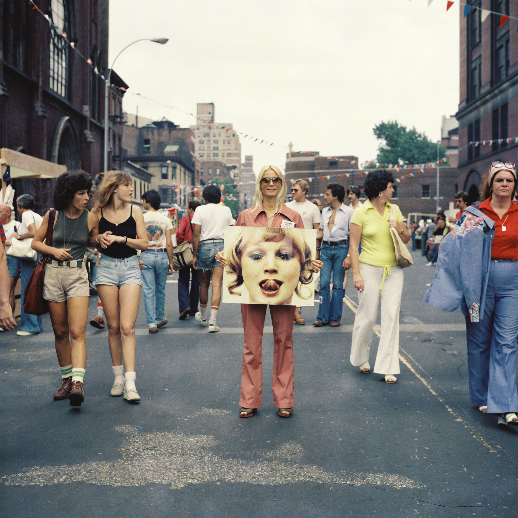 Natalia LL at a demonstration in defence of the rights of sexual minorities, New York, 1977; colour photography. Courtesy of the artist and Lokal_30 Gallery in Warsaw