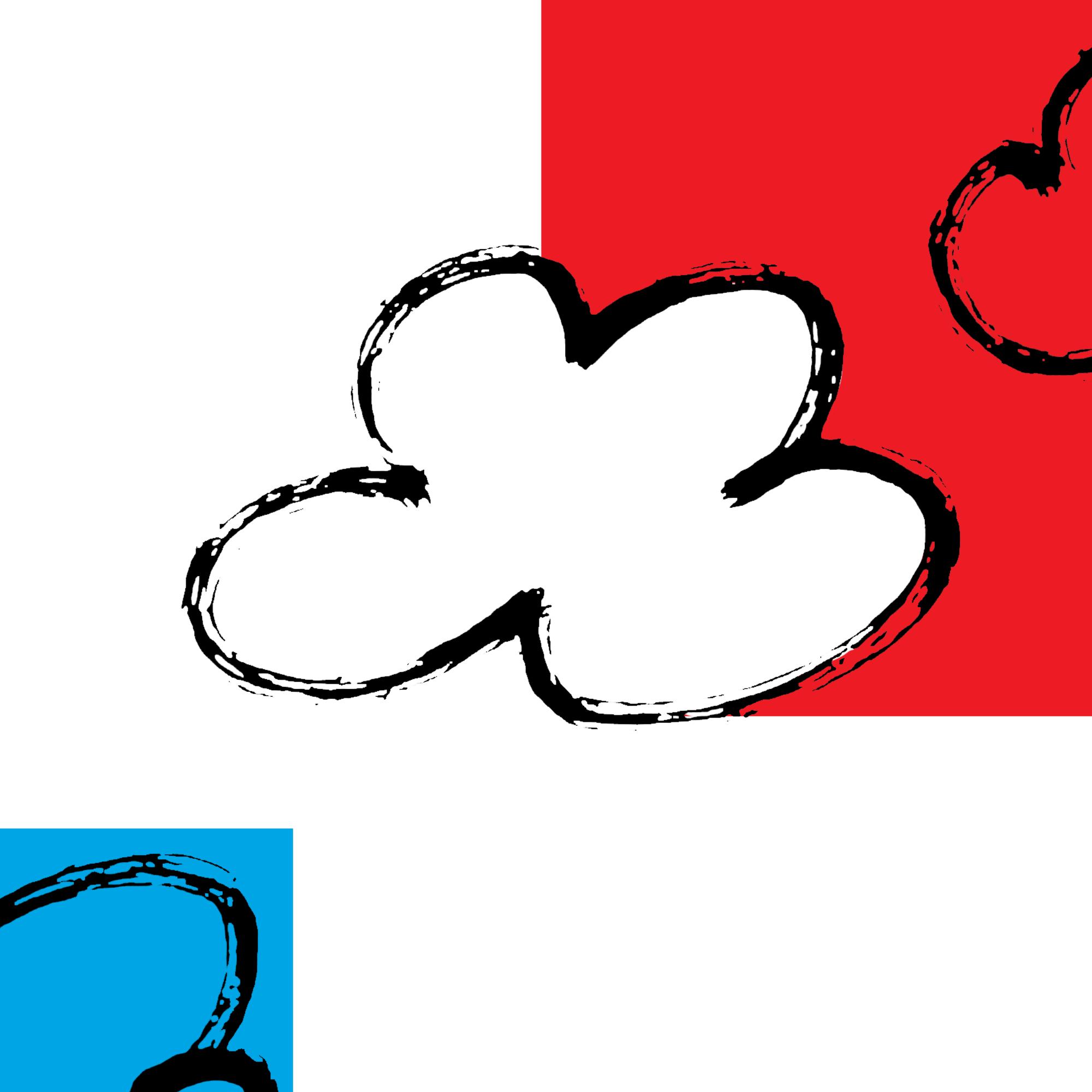 Barwna abstrakcyjna grafika w formacie kwadratu. Na białym tle w prawym górnym rogu czerwony prostokąt a na nim czarny zarys dwóch chmurek. W lewym dolnym rogu niebieski kwadrat i na nim czarny zarys kolejnej chmurki.