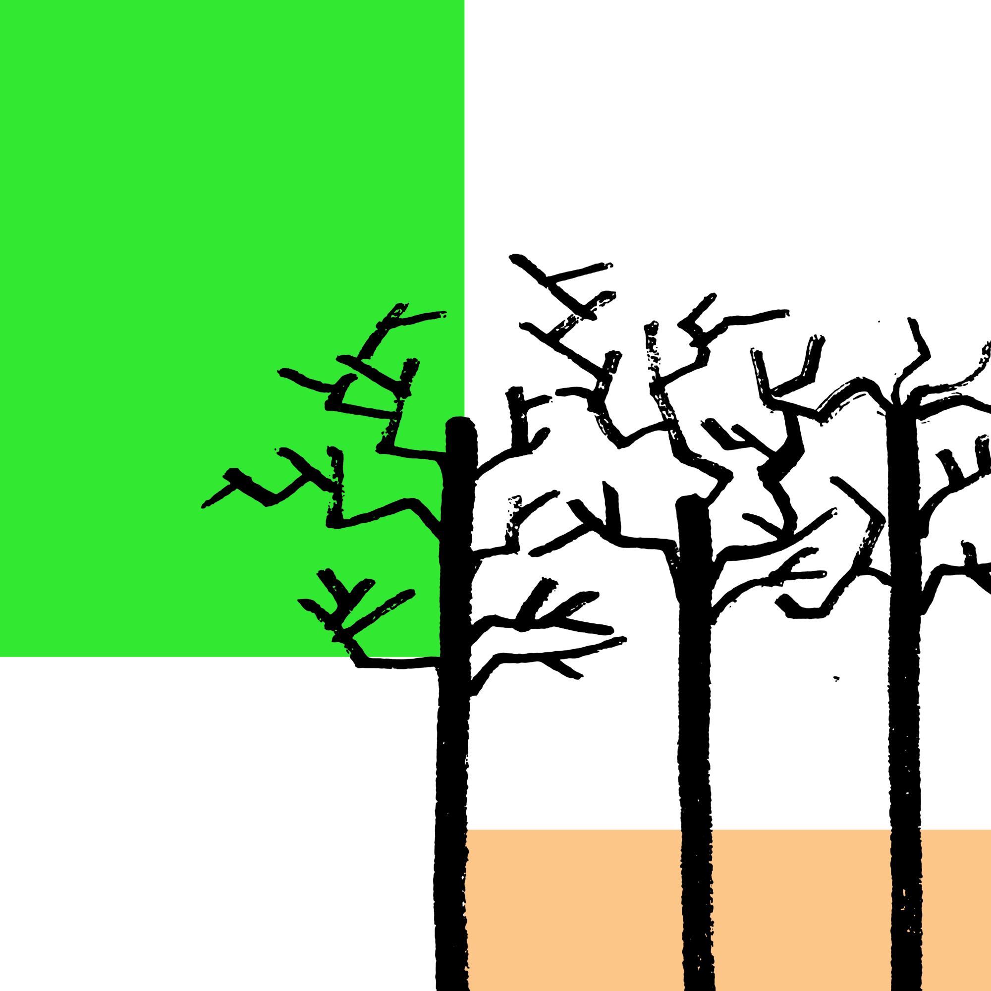 Barwna abstrakcyjna grafika w formacie kwadratu. Na białym tle w lewym górnym rogu widać zielony prostokąt. W prawym dolnym rogu jest pomarańczowy prostokąt z niego wychodzą trzy zarysy drzew bez liści.