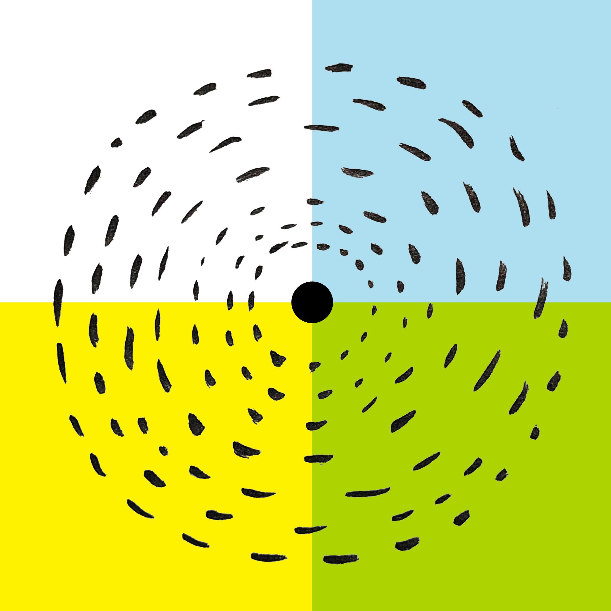 Barwna abstrakcyjna grafika w formacie kwadratu podzielona na cztery kwadraty w kolorach białym, błękitnym, żółtym i zielonym. Po środku, na złączeniu kwadratów znajduje się duża czarna kropka, a wokół niej rozchodzą się czarne plamy, tworzące koncentryczne kręgi.