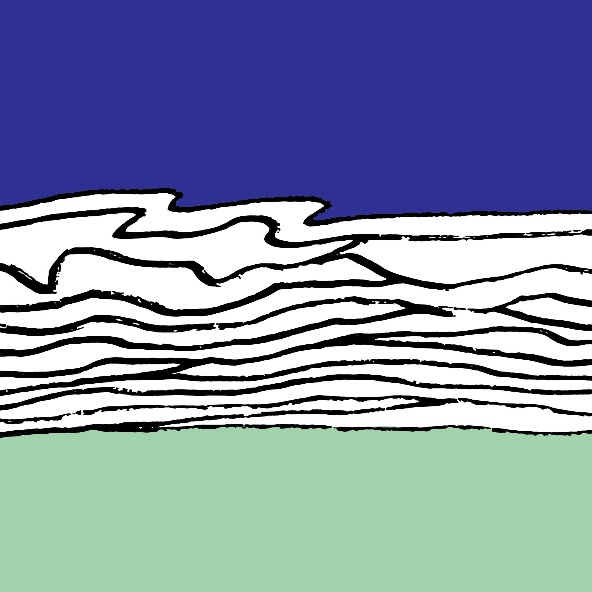 Barwna abstrakcyjna grafika w formacie kwadratu. Po środku czarne poziome falowane linie na białym tle. Ponad nimi pas koloru niebieskiego, pod nimi pas koloru zielonego.
