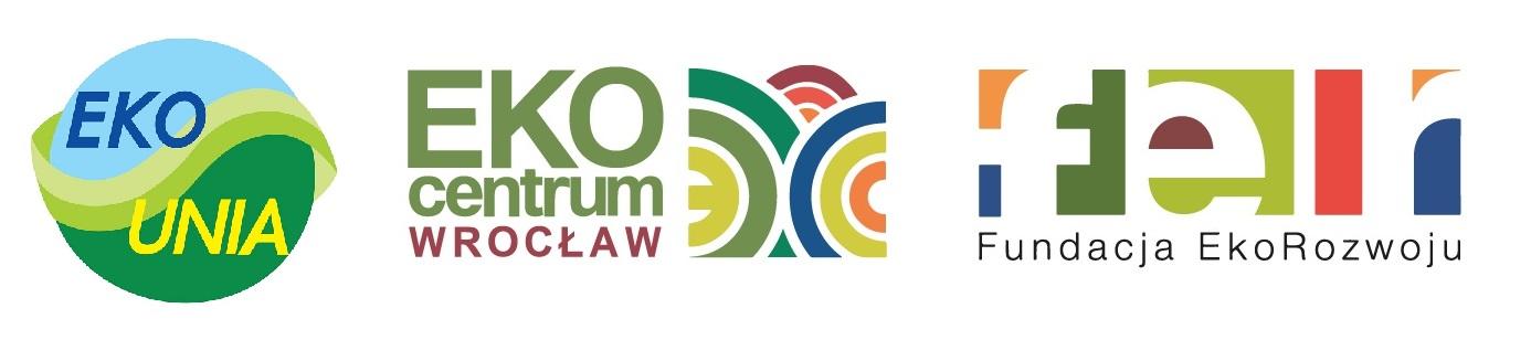 Logotypy partnerów warsztatów. Po lewej logo Stowarzyszenia EKO-UNIA (na białym tle koło, w górnej części błękitne z granatowym napisem EKO, w dolnej części zielone z żółtym napisem UNIA. Przez środek koła biegnie falowana linia); po środku logo EkoCentrum Wrocław (po lewej stronie zielony napis EKO centrum, pod nim bordowy napis WROCŁAW, po prawej stronie nachodzące na siebie okręgi w wielu kolorach); po prawej stronie logo Fundacja EkoRozwoju (u dołu grafiki napis Fundacja EkoRozwoju, nad nią trzy białe litery f, e, r wkomponowane w trzy kolorowe kwadraty).