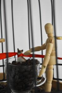 Zbliżenie na element większej instalacji. Za kratami stoi przezroczysta filiżanka wypełniona ziarnami kawy, w nich stoi figurka kota z czerwoną wstążką na szyi, po prawej stronie drewniana figurka człowieka.