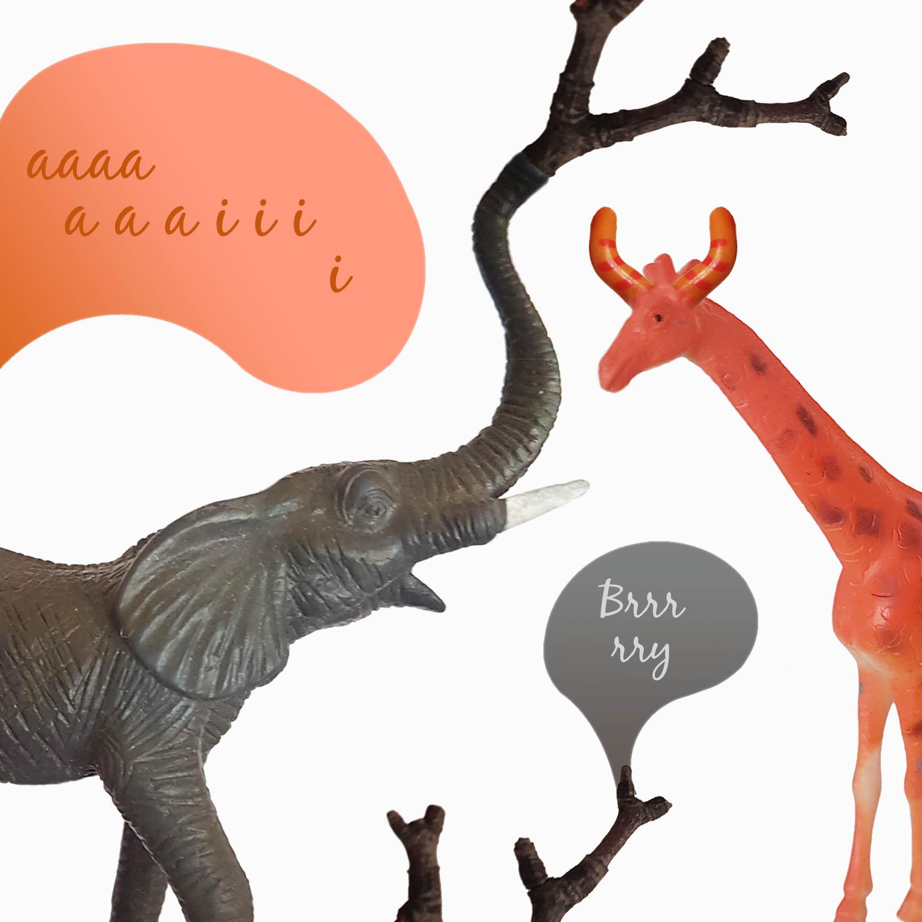 Kolaż. Na białym tle szara figurka słonia z trąbą uniesioną ku górze i zakończoną gałązką, pomarańczowa żyrafa, dwie komiksowe chmurki z literami aaa, iii, brrry