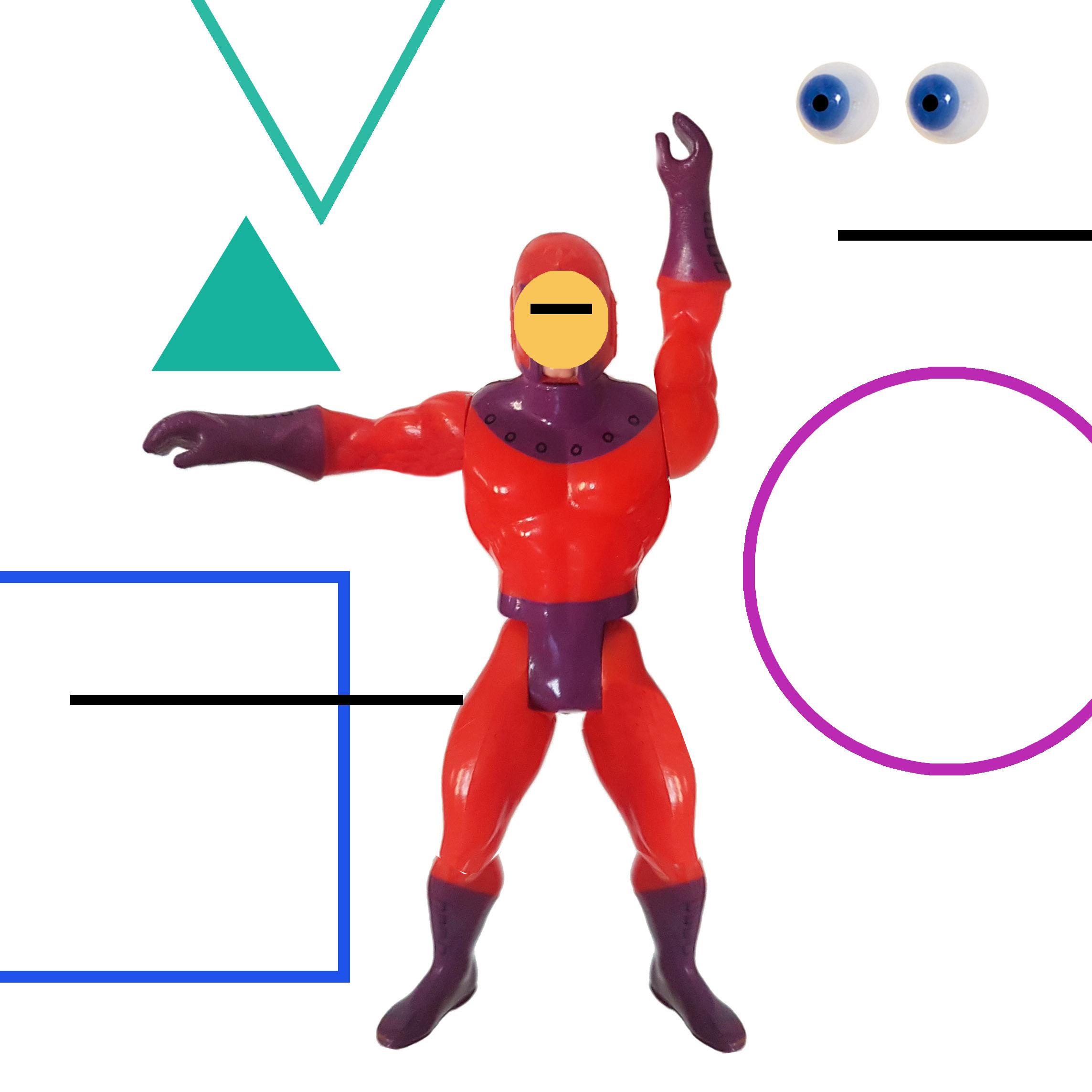 Grafika barwna w formacie kwadratu. Kolaż. Po środku czerwono-fioletowa plastikowa figurka bajkowego superbohatera, który w miejscu twarzy ma żółte kółko z czarną kreską w miejscu oczu. W prawym górnym rogu dwie gałki niebieskich oczu. Wokół różnokolorowe kreski i figury geometryczne.