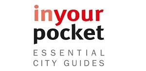 """Logotyp In Your Pocket Essential City Guides. Na białym tle małymi literami czerwony napis """"inyour"""", poniżej czarny napis """"pocket"""", pod nim szary napis w dwóch linijkach dużymi literami """"essential city guides""""."""