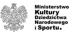 Logotyp. Na białym tle z lewej strony czarny orzeł w koronie, z prawej strony czarny napis Ministerstwo Kultury, Dziedzictwa Narodowego i Sportu.
