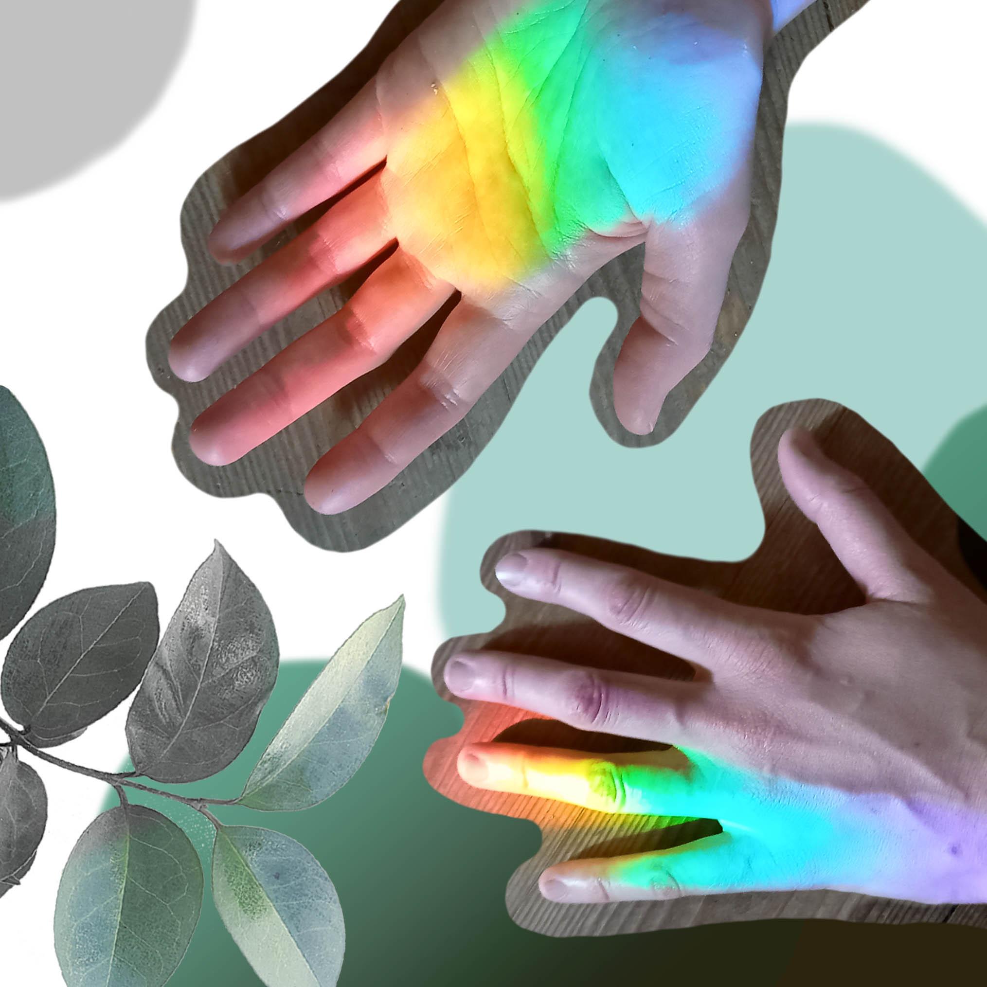 Dwie dłonie oświetlone tęczowym światłem, w lewym dolnym rogu zielona gałązka